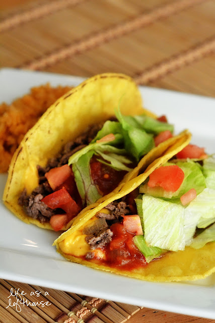 Dad's tacos are ground beef, onion and cheese whiz wrapped up in a crunchy corn tortilla. Life-in-the-Lofthouse.com