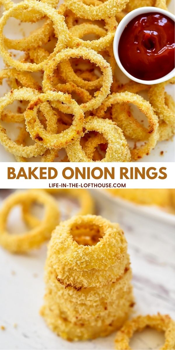 Delicious and crispy homemade Onion Rings that are baked in the oven. Life-in-the-Lofthouse