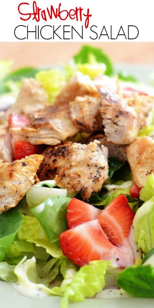 Strawberry Chicken Salad is filled with chopped romaine lettuce, sprinkles of sliced almonds, sliced strawberries and grilledchicken. Life-in-the-Lofthouse.com