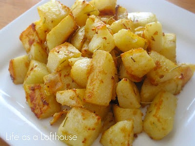Savory Roasted Potatoes are crispy on the outside and tender on the inside with an amazing flavor that comes from the garlic, Rosemary and dijon mustard. Life-in-the-Lofthouse.com