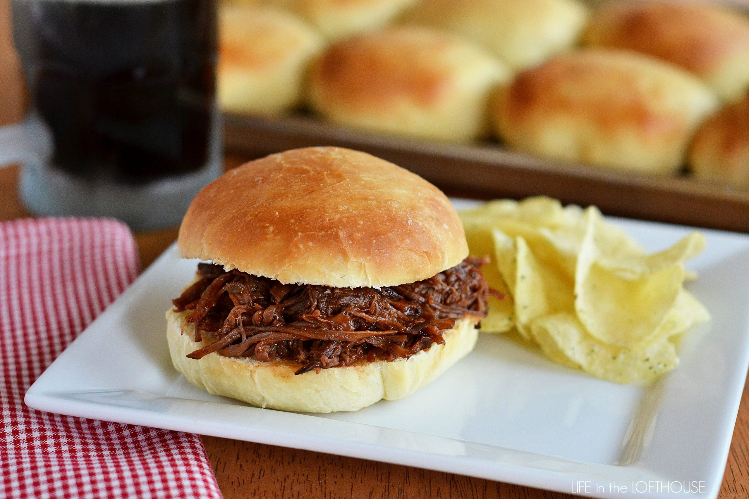 Crock Pot Pulled Pork Sandwich Recipe. This easy Crock Pot Pulled Pork Sandwich Recipe is one of our favorite family crock pot recipes made with only 5 ingredients.. It is a great recipe to make on a summer holiday like the 4th of July if you want to enjoy the flavors of pulled pork sandwiches but doesn't plan on pulling the grill out.