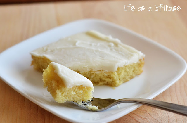 White Texas Sheet Cake is a delicious almond-scented cake with a heavenly almond frosting. Life-in-the-Lofthouse.com