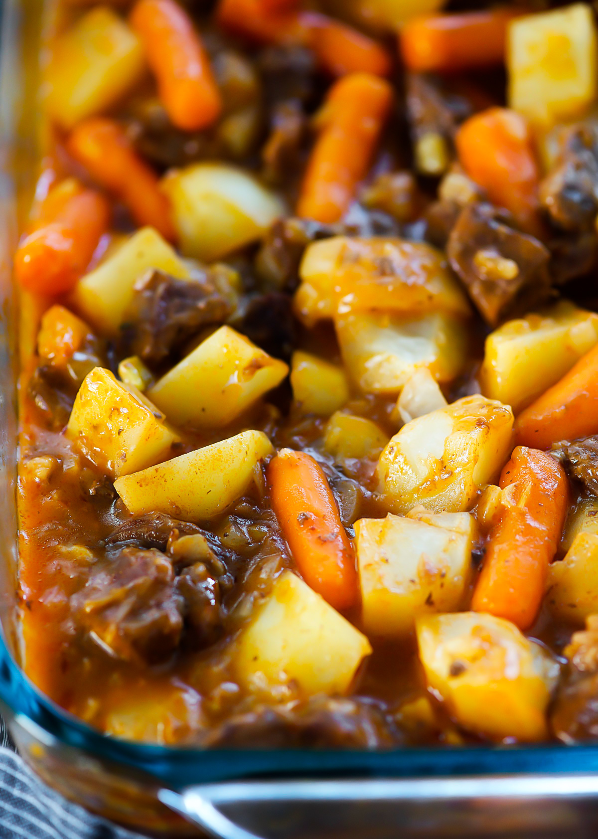 Oven Baked Stew is filled with flavorful beef stew meat, diced potatoes, carrots and onion. Life-in-the-Lofthouse.com