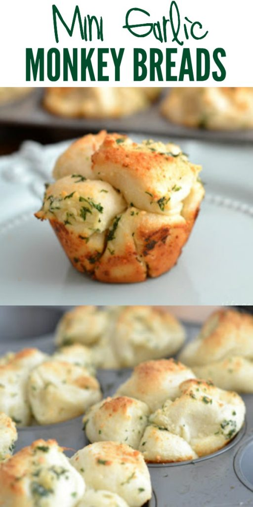 Mini Garlic Monkey Breads are soft, buttery pull apart rolls that are full of garlic flavor. Life-in-the-Lofthouse.com