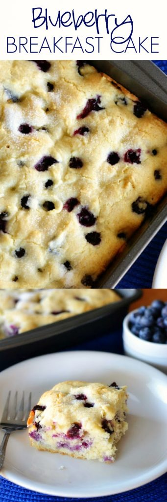 Blueberry Breakfast Cake is a moist, soft vanilla cake filled with fresh blueberries. Life-in-the-Lofthouse.com