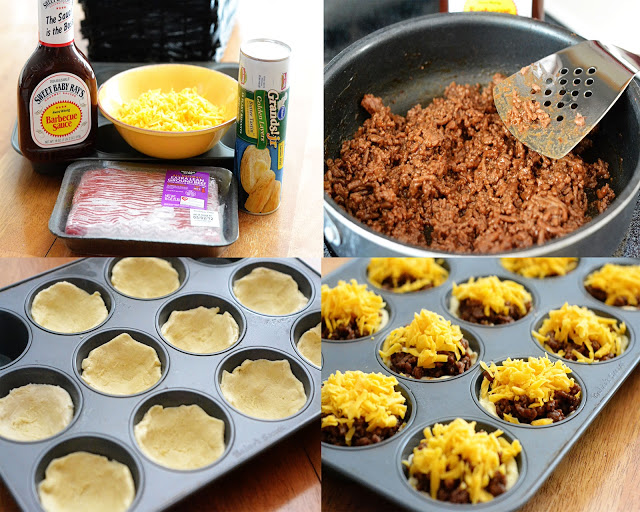These Barbecue Cups are filled with ground beef, barbecue sauce and cheddar cheese baked over biscuit dough. Life-in-the-Lofthouse.com