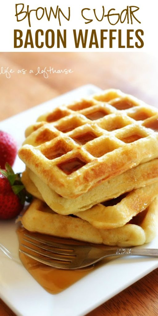 Brown Sugar Bacon Waffles are golden delicious and fluffy waffles with brown sugar bacon throughout. Life-in-the-Lofthouse.com