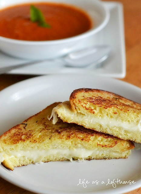 Grilled Mozzarella Sandwiches and homemade Tomato Basil Soup to dip them in. Life-in-the-Lofthouse.com