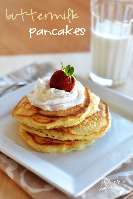 Fluffy and golden buttermilk pancakes made from scratch. Life-in-the-Lofthouse.com