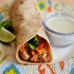 Grilled Chicken Stuffed Burritos and Creamy Cilantro-Ranch dressing