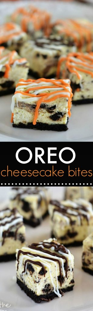 Oreo cheesecake bites are a delicious bite size dessert with an Oreo cookie base and a drizzling of chocolate candy coating. Life-in-the-Lofthouse.com