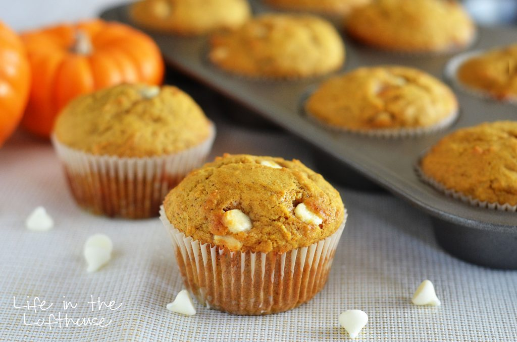 Delicious, moist muffins full of pumpkin and cinnamon flavor and white chocolate chips. Life-in-the-Lofthouse.com