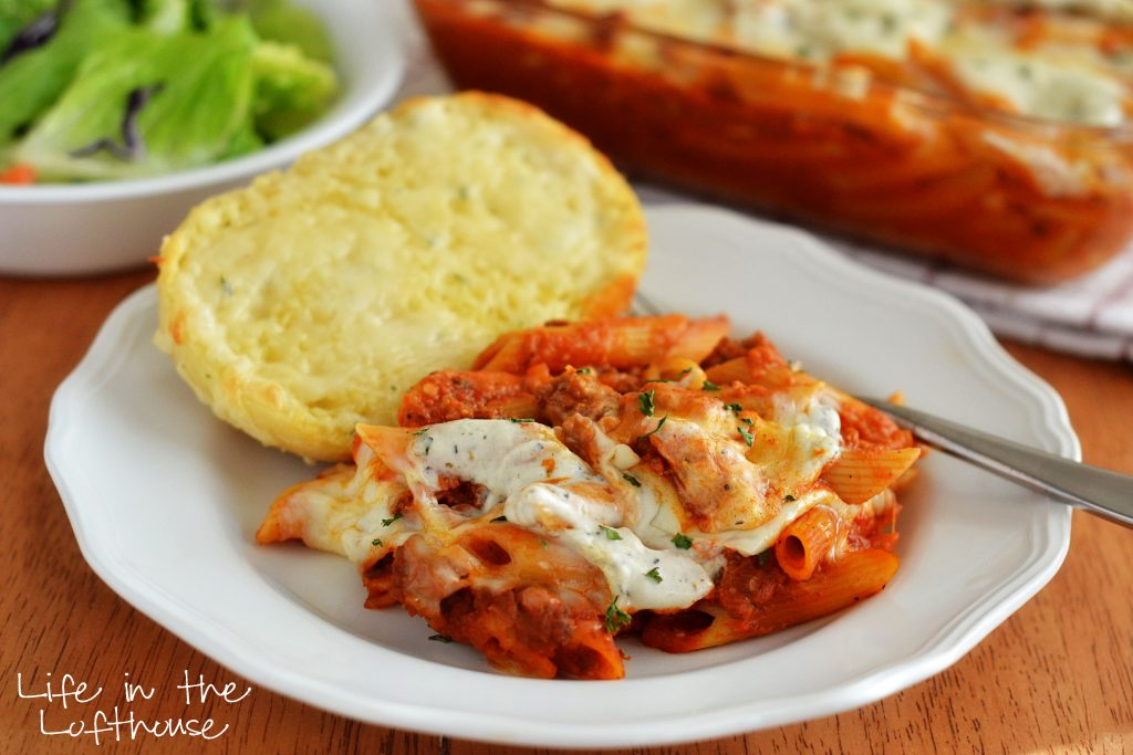 Baked Penne is a classic Italian-American dish with penne pasta baked in spaghetti sauce, cooking creme, and cheese. Life-in-the-Lofthouse.com