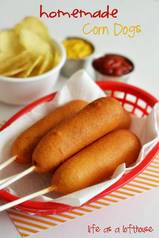 Homemade Corn Dogs are so delicious, easy to make and taste just like the ones from the fair! Life-in-the-Lofthouse.com