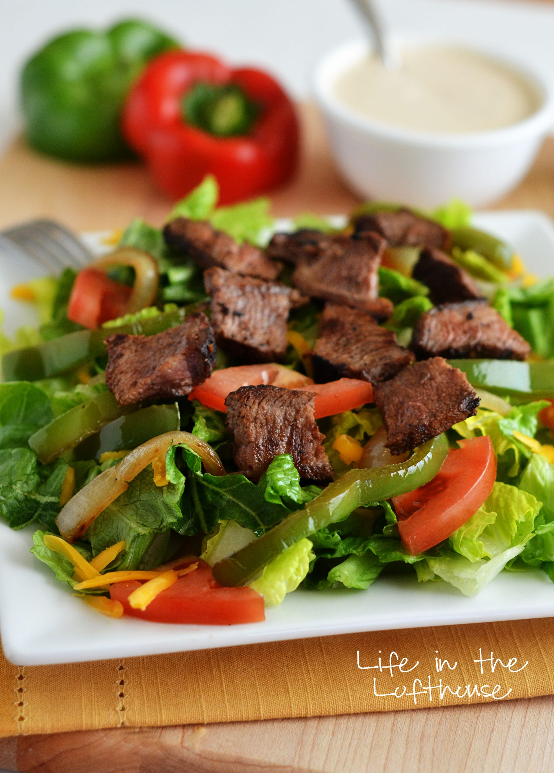 Steak Fajita Salad with Chipotle Ranch Dressing