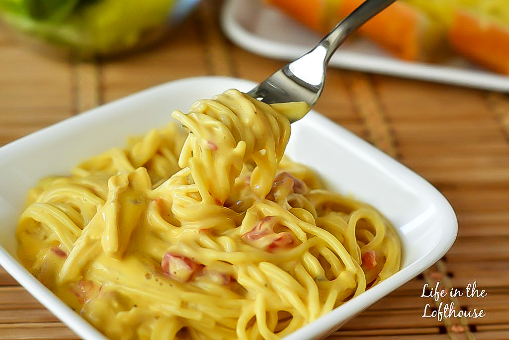 Creamy, cheesy spaghetti with loads of chicken and flavor. Life-in-the-Lofthouse.com