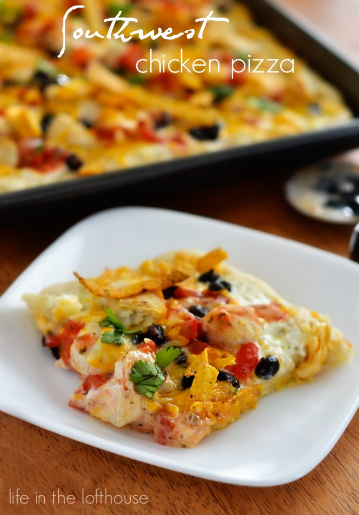 Southwest Chicken Pizza starts with ranch dressing and is topped with seasoned chicken, black beans, salsa and lots of cheese. Life-in-the-Lofthouse.com