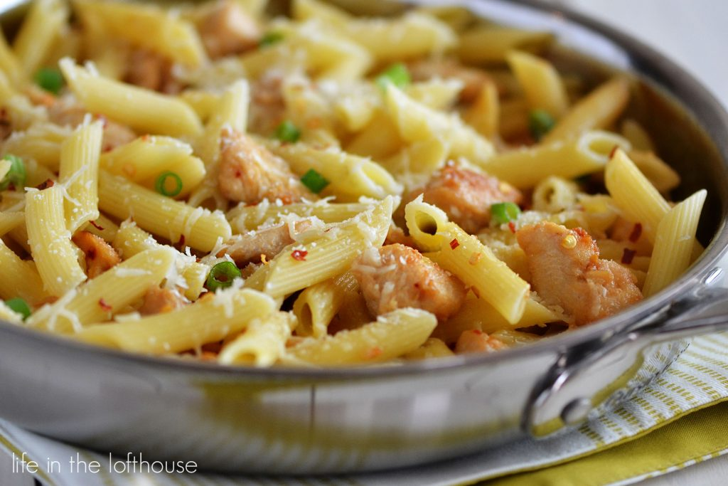 Pasta coated in olive oil, Parmesan cheese and spicy chicken. Life-in-the-Lofthouse.com