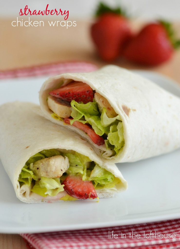 Strawberry chicken wraps are grilled chicken, romaine lettuce, creamy poppy seed dressing and sliced strawberries wrapped around a flour tortilla. Life-in-the-Lofthouse.com