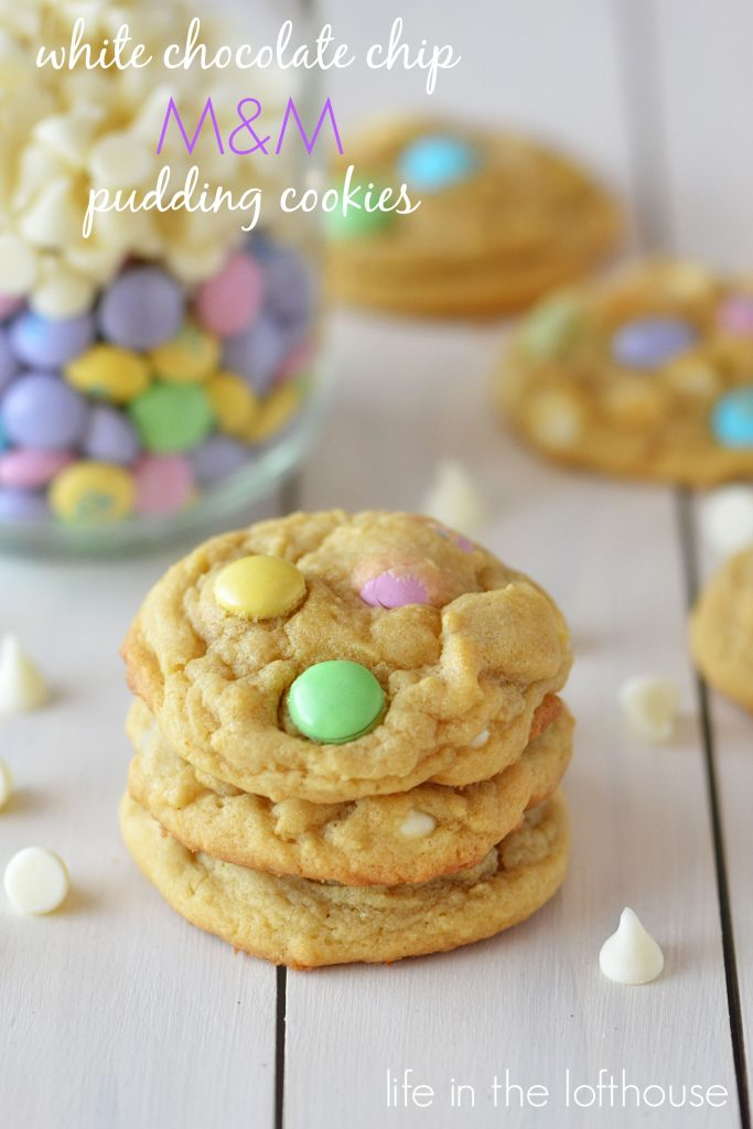 White Chocolate Chip M&M Pudding Cookies are moist, soft cookies with lotsof white chocolate chips and M&M's in every bite. Life-in-the-Lofthouse.com