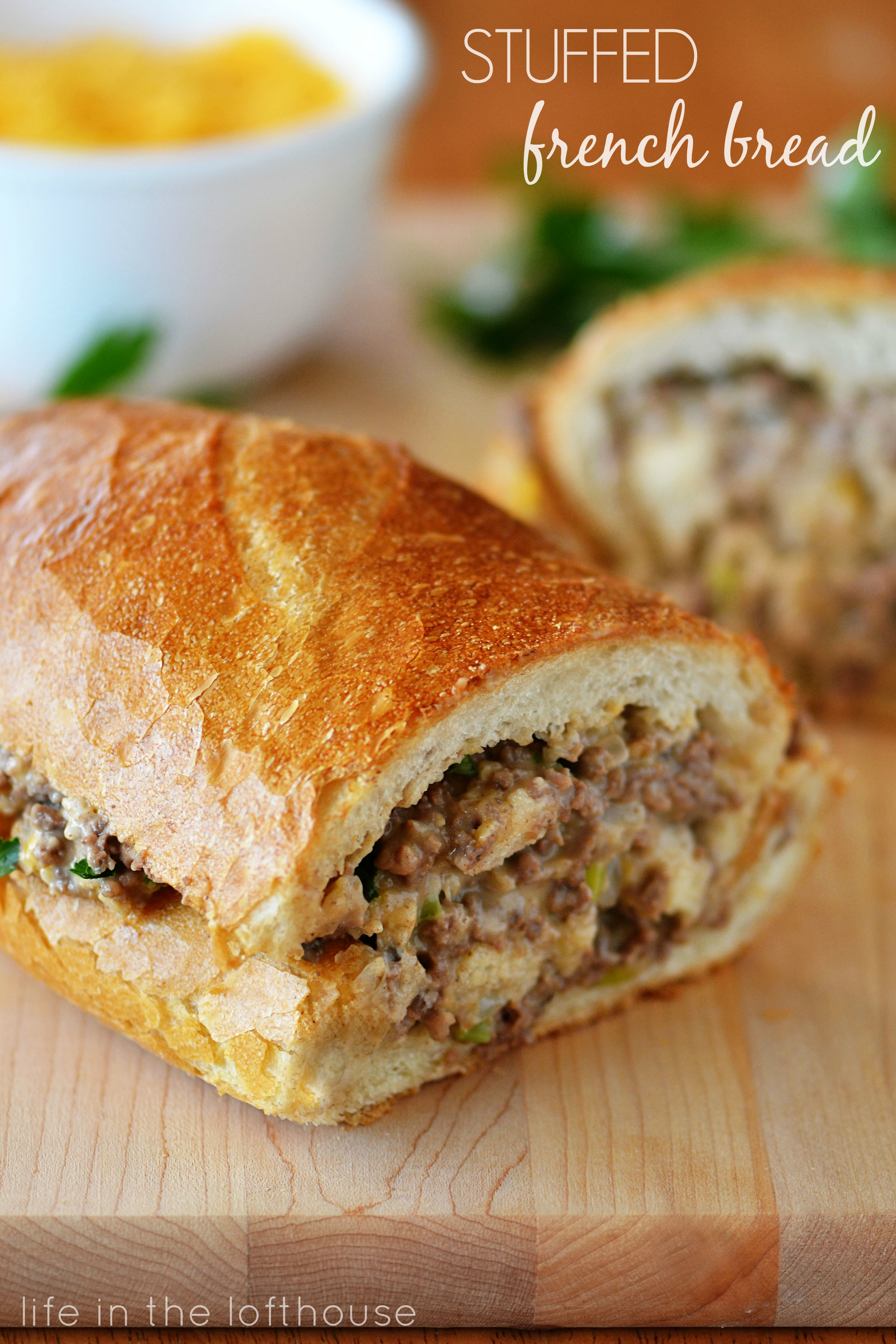 Stuffed french bread for What to make with hamburger meat for dinner