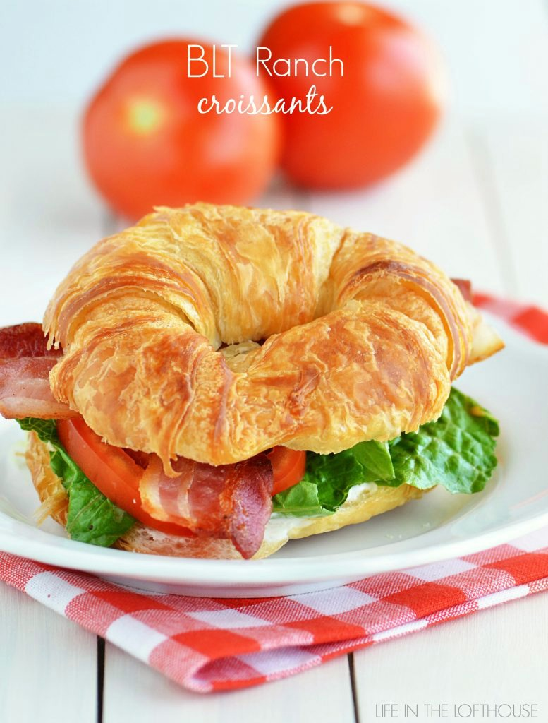 BLT Ranch Croissants are a classic BLT with a spread of ranch dressing and made on a soft croissant. Life-in-the-Lofthouse.com