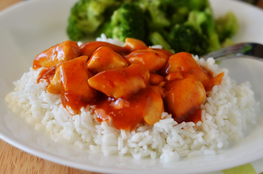 Chopped chicken breasts cooked in one skillet and covered in Campbell's sweet and sour chicken sauce. Life-in-the-Lofthouse.com