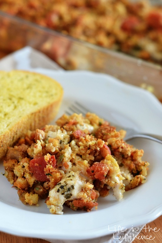 Basil pesto and chicken stuffing gives this Italian Chicken and Stuffing Bake extra flavor. Life-in-the-Lofthouse.com