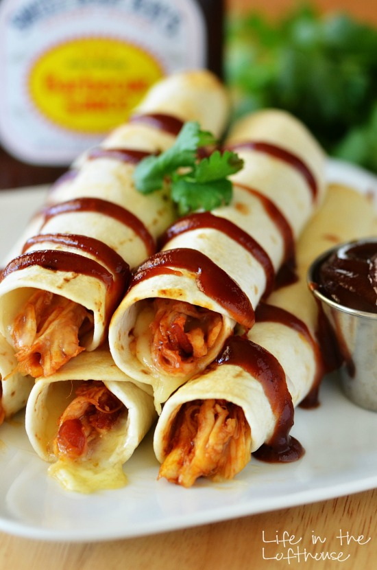 BBQ chicken and bacon taquitos is shredded chicken slathered in Sweet Baby Rays barbecue sauce, Monterey-Jack cheese and bacon, wrapped inside flour tortillas. Life-in-the-Lofthouse.com