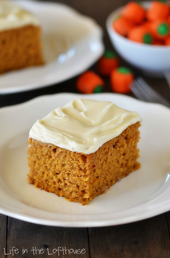 Pumpkin Cake with Cream Cheese Frosting - Life In The Lofthouse