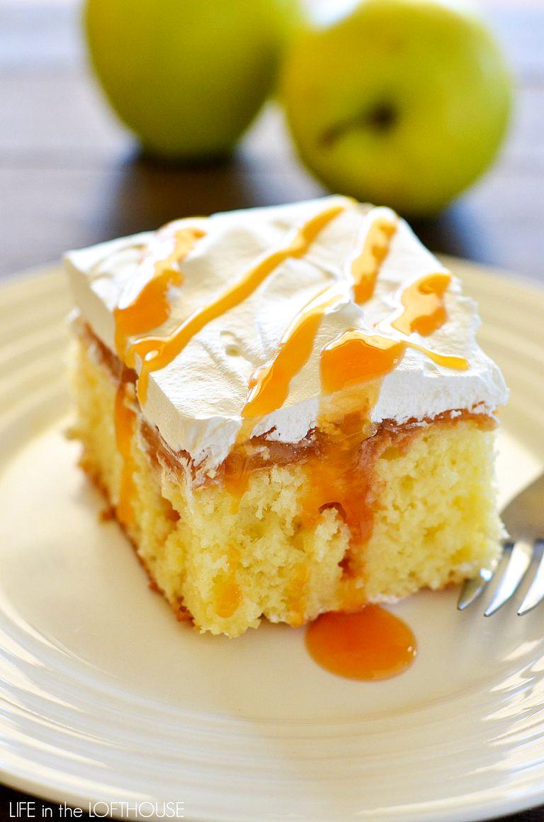 Caramel apple poke cake is a light and moist cake that tastes like caramel apples. Life-in-the-Lofthouse.com