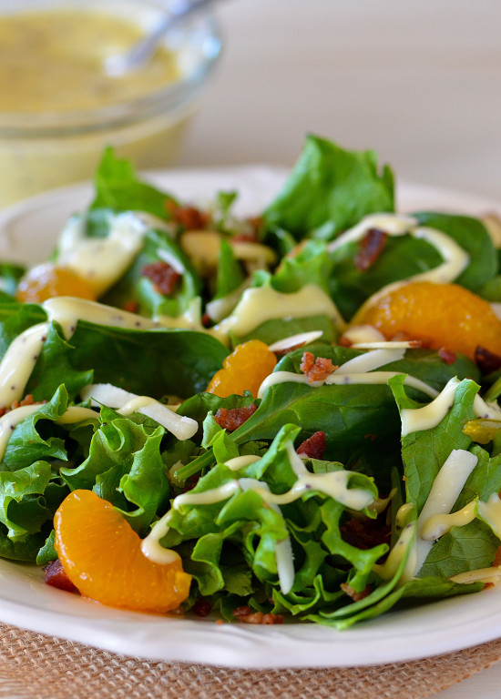 A bed of spinach and green leaf lettuce with bacon, almonds and oranges. Life-in-the-Lofthouse.com