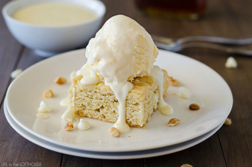 Soft and chewy white chocolate blondies with a warm maple cream sauce. Life-in-the-Lofthouse.com