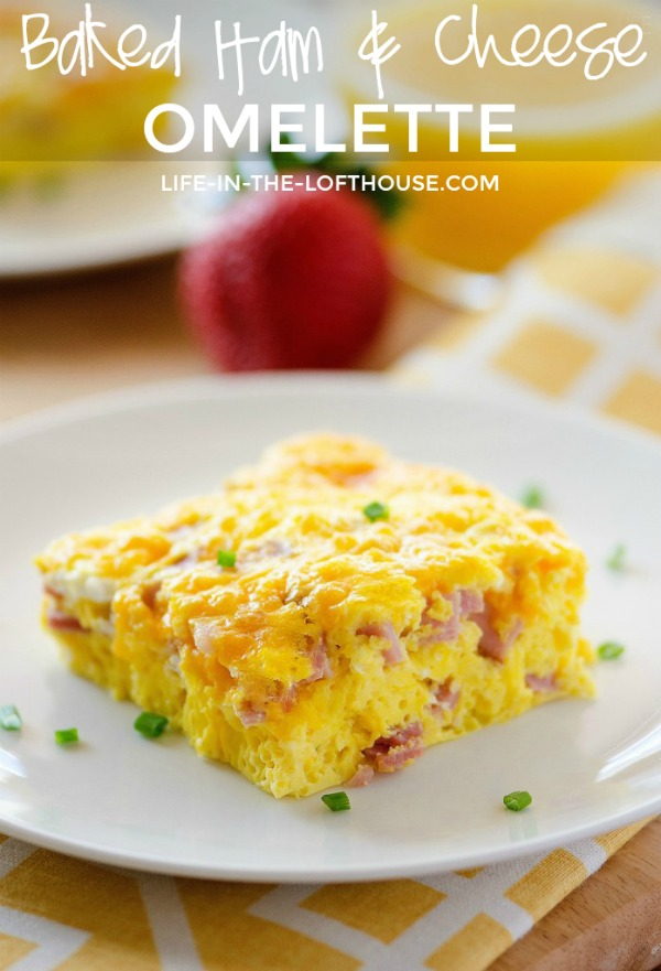 A delicious baked omelette loaded with ham and cheese. Life-in-the-Lofthouse.com