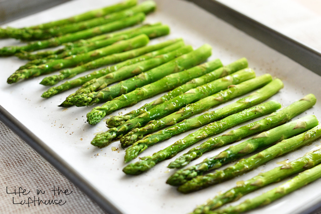 Fresh Asparagus that is oven-roasted and only requires 3 ingredients to make. Life-in-the-Lofthouse.com