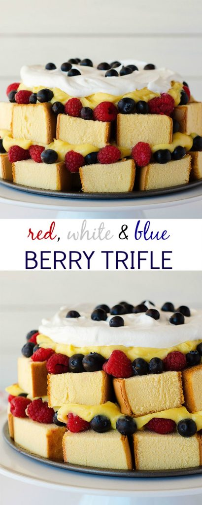 Red, white & blue berry trifle has layers of pound cake, vanilla pudding and berries. Life-in-the-Lofthouse.com