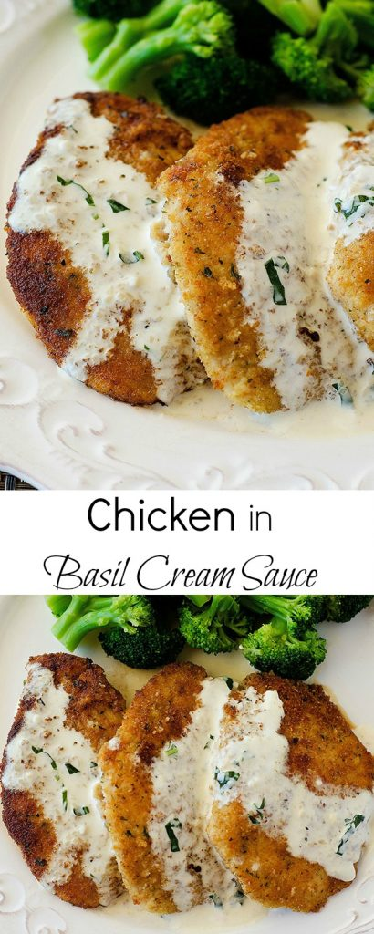 Crispy pan fried chicken drenched in a warm basil and Parmesan creamy cheese sauce. Life-in-the-Lofthouse.com