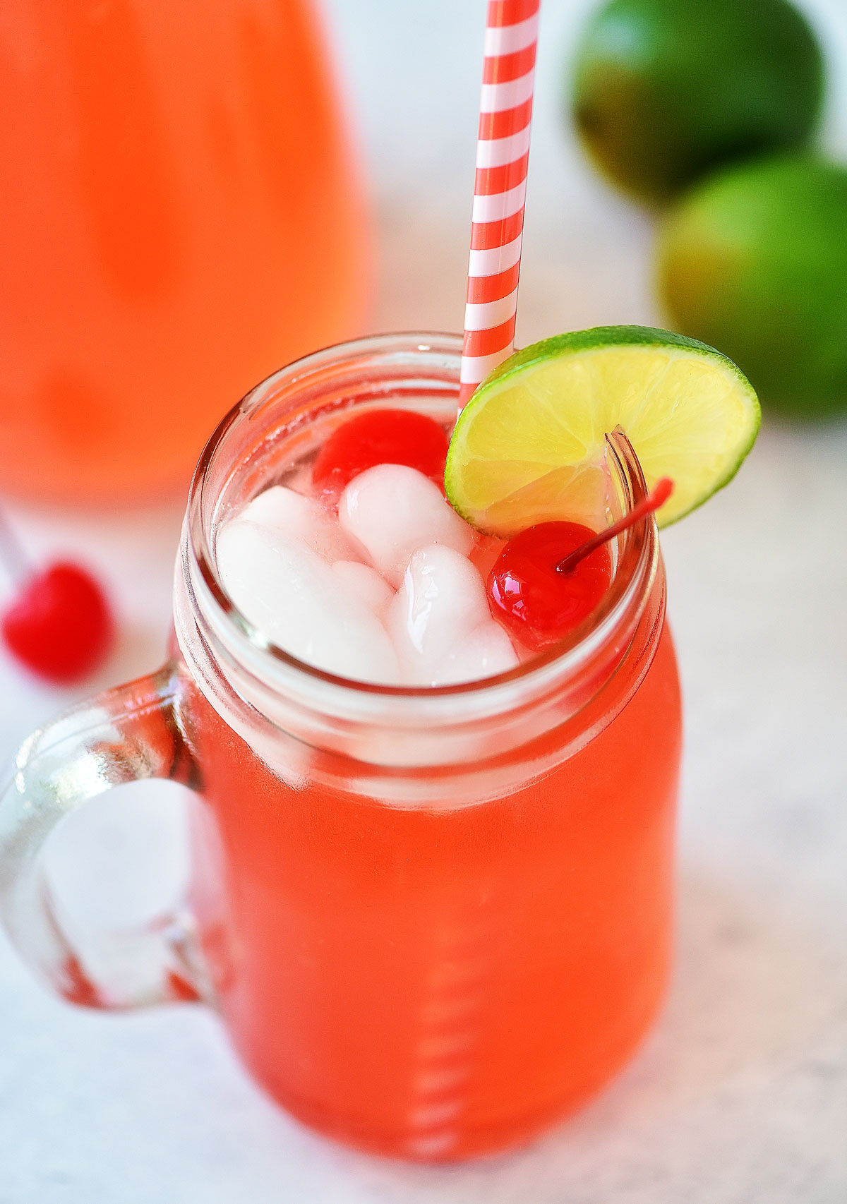 This Cherry Limeade is the perfect summer time drink with a combination of frozen limeade, maraschino cherry juice and lemon-lime soda!