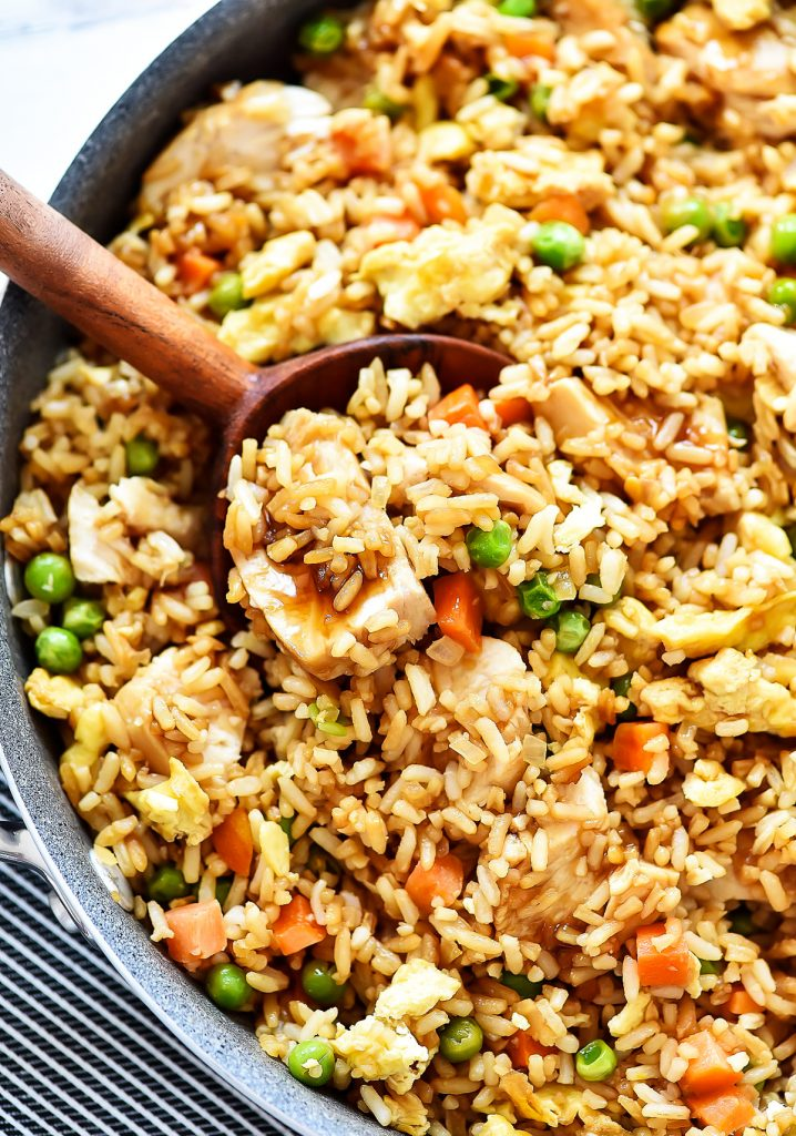 Chicken fried rice has all the classic elements of fried rice with teriyaki chicken through out. Life-in-the-Lofthouse.com