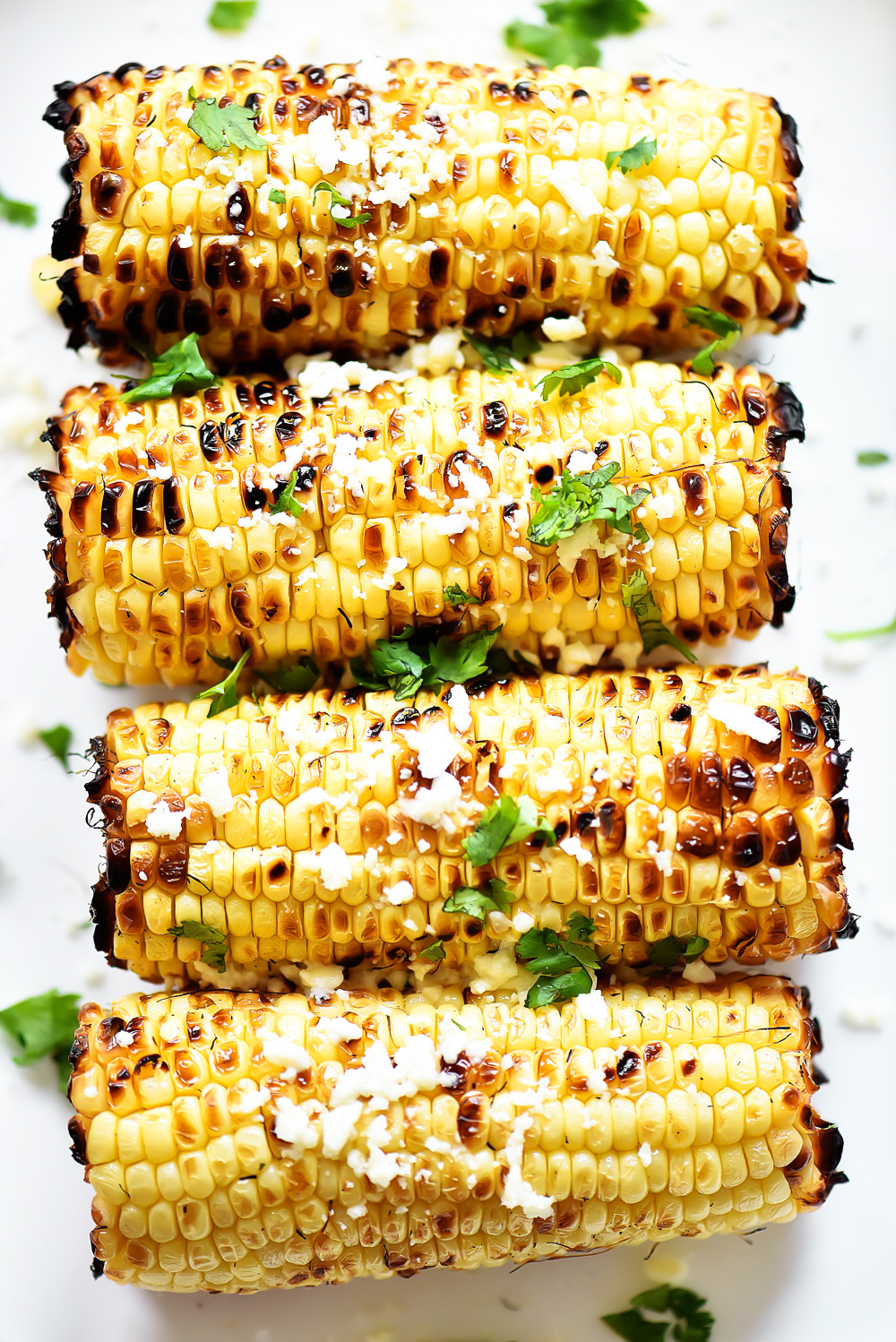Grilled fresh corn covered in a delicious cilantro-lime butter. Life-in-the-Lofthouse.com