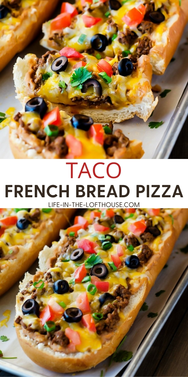 Taco French bread pizza has all the flavors of a taco transformed into a pizza using french bread. Life-in-the-Lofthouse.com