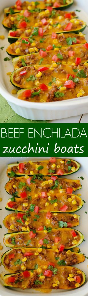 Sliced zucchini loaded with saucy beef, corn, tomatoes and cheese. These are incredibly delicious!
