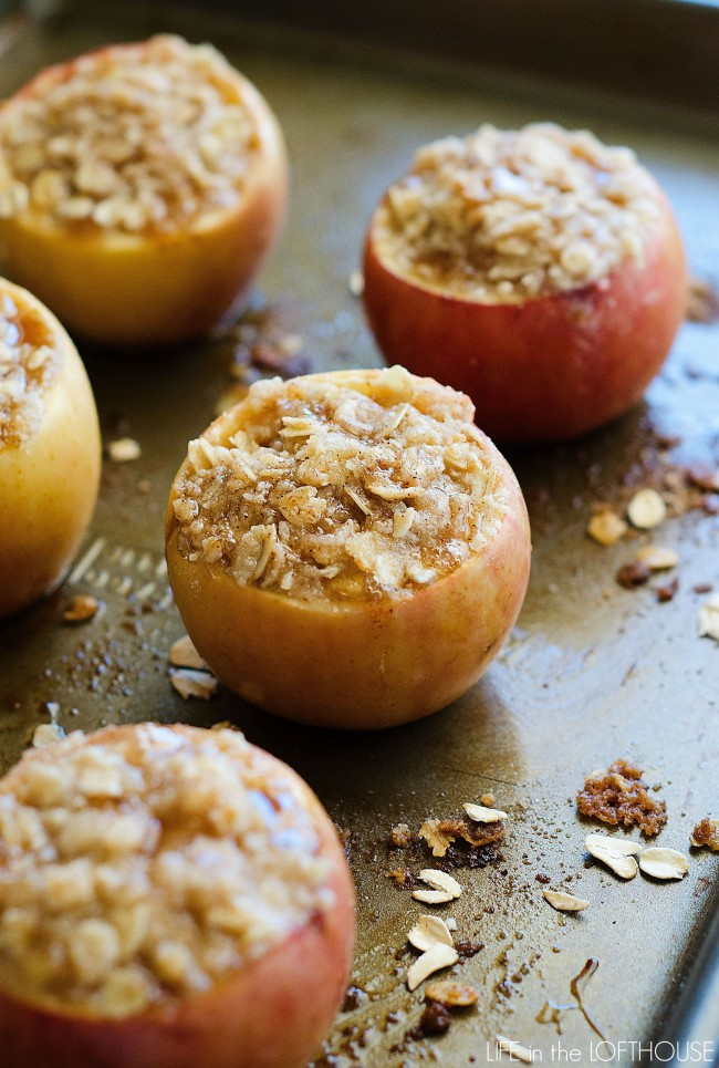 Delicious baked apples stuffed with an apple crisp filling. Life-in-the-Lofthouse.com