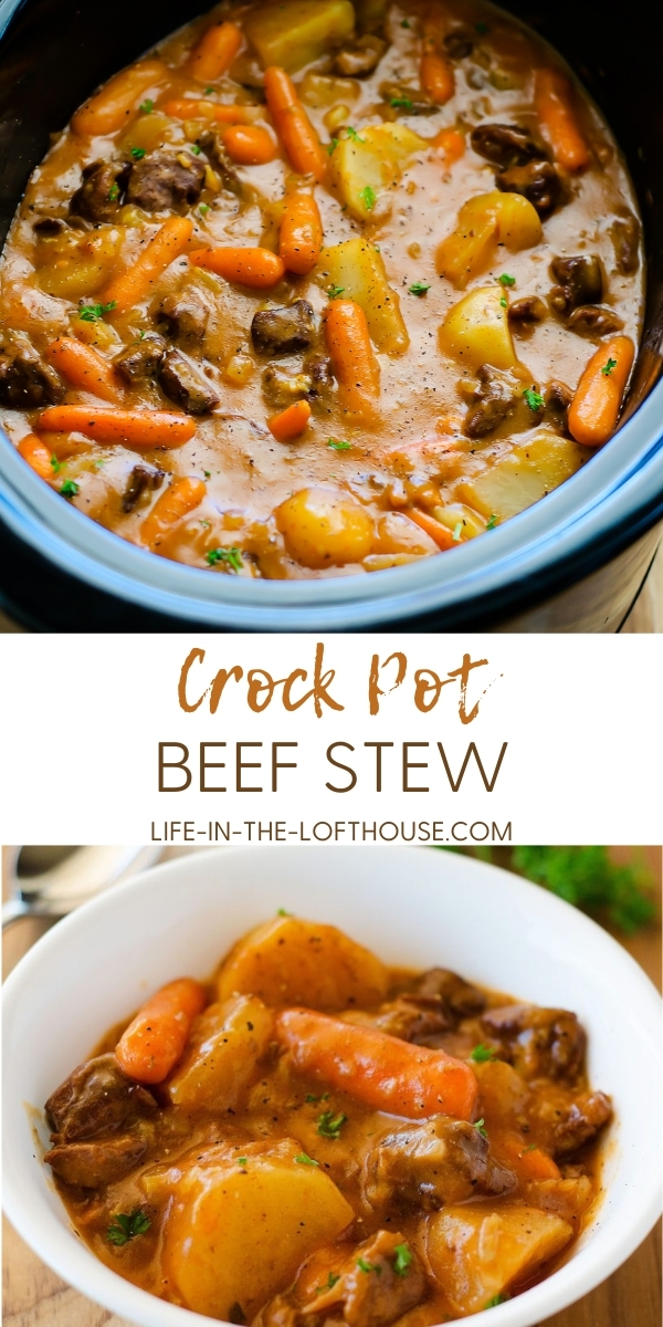 Slow Cooker Beef Stew is hearty pieces of beef and vegetables slow cooked in gravy. Life-in-the-Lofthouse.com