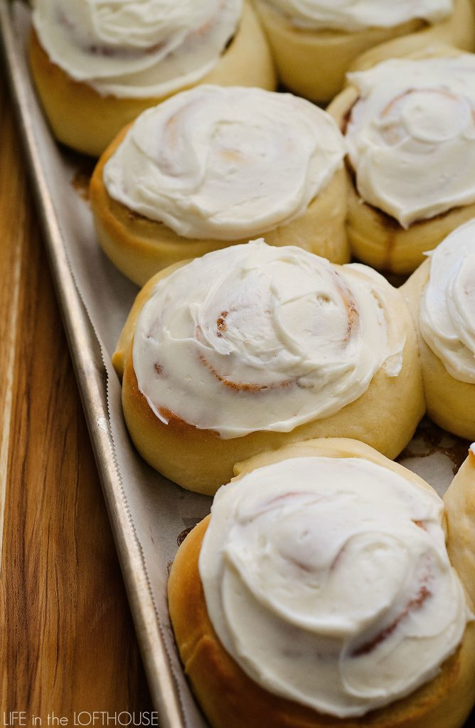 Perfect Cinnamon Rolls are soft, fluffy rolls filled with cinnamon and sugar and topped with delicious cream cheese frosting. Life-in-the-Lofthouse.com