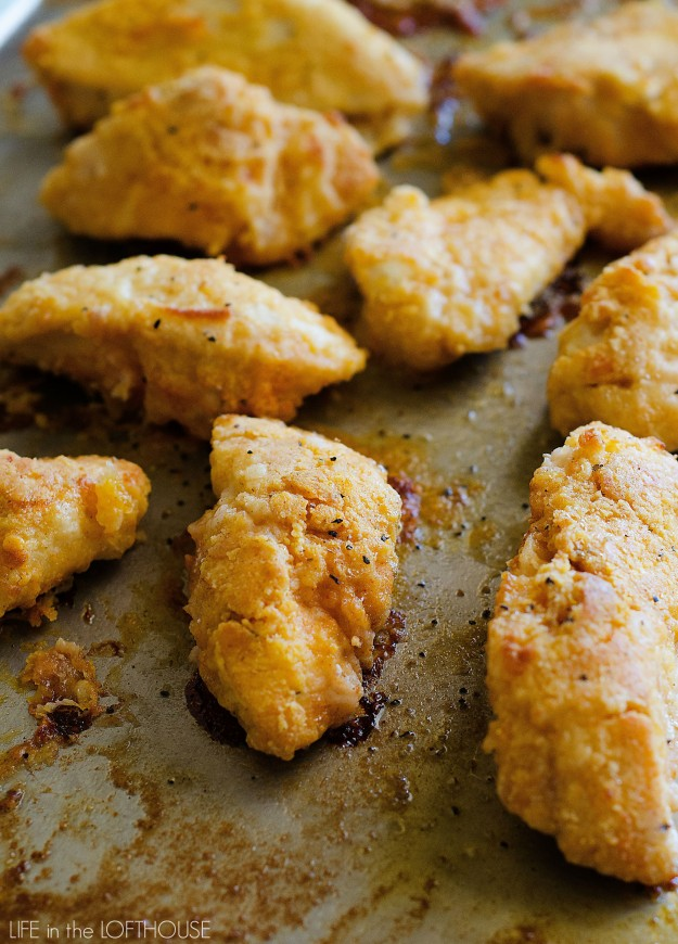 Oven fried chicken is crispy on the outside and tender on the inside and doesn't require any deep-frying. Life-in-the-Lofthouse.com