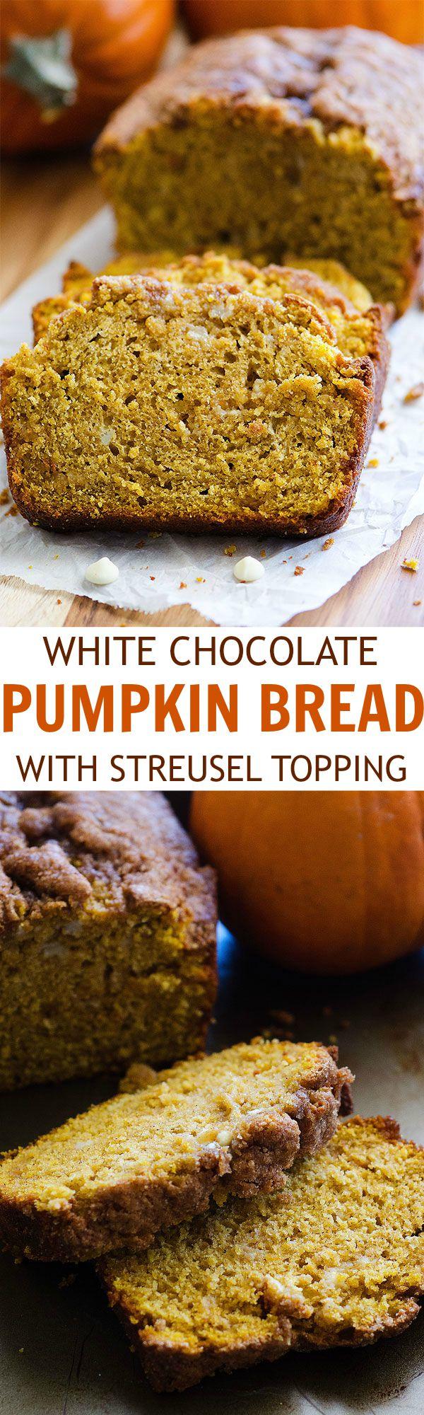 pumpkin white chocolate chip bread