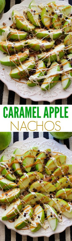 Caramel Apple Nachos start with slices of green apples then covered in warm caramel sauce, white chocolate and crushed candy bars. Life-in-the-Lofthouse.com