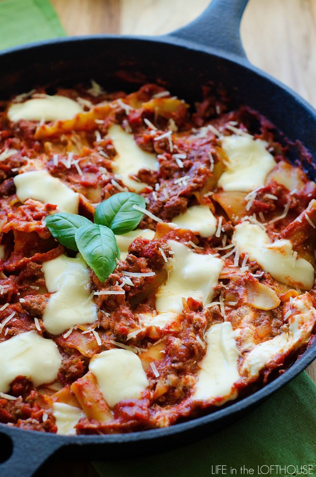 This skillet lasagana is delicious and ready in no time!