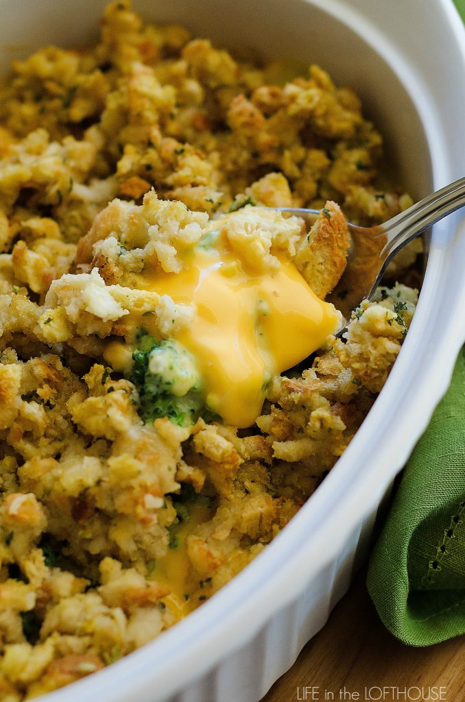 Cheesy Stuffing Casserole is loaded with broccoli, corn, cheese and stuffing. Life-in-the-Lofthouse.com